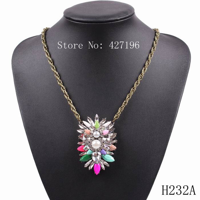 Retro Gold Chain Crystal Charm Pendant Necklace For Women Cheap Price Jewelry - Jewelry