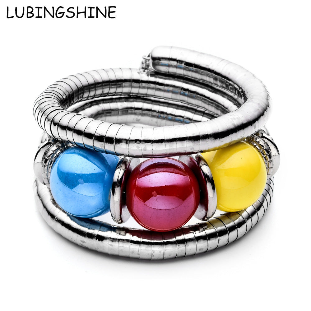 LUBINGSHINE Colorful Stone Beads Snake Bracelets Women Simulated Pearl Elastic Stretch Bangles - Jewelry