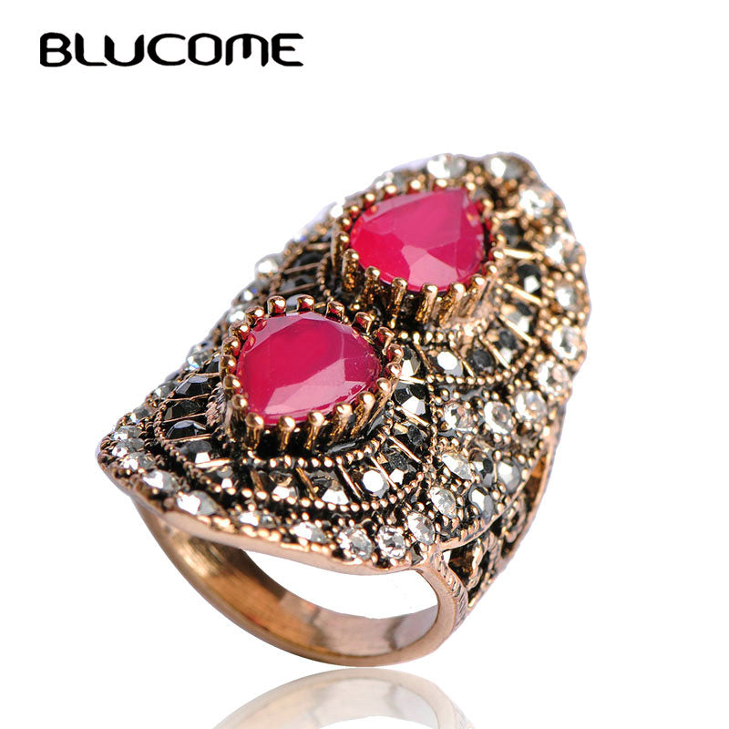 Blucome Turkey Royal Design Green Vintage Ring Turkish Women Water Drop Big Size Rings Antique Anel - Jewelry