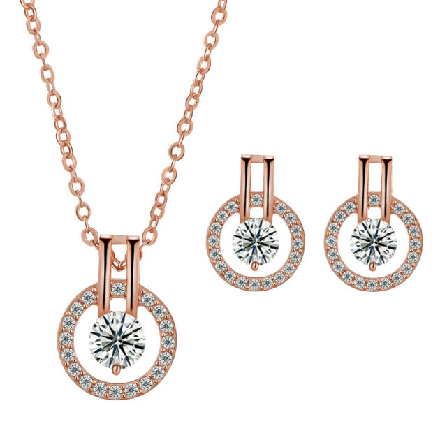LZESHINE Wedding Jewelry Sets Rose Gold Plated Necklace Earring - Jewelry