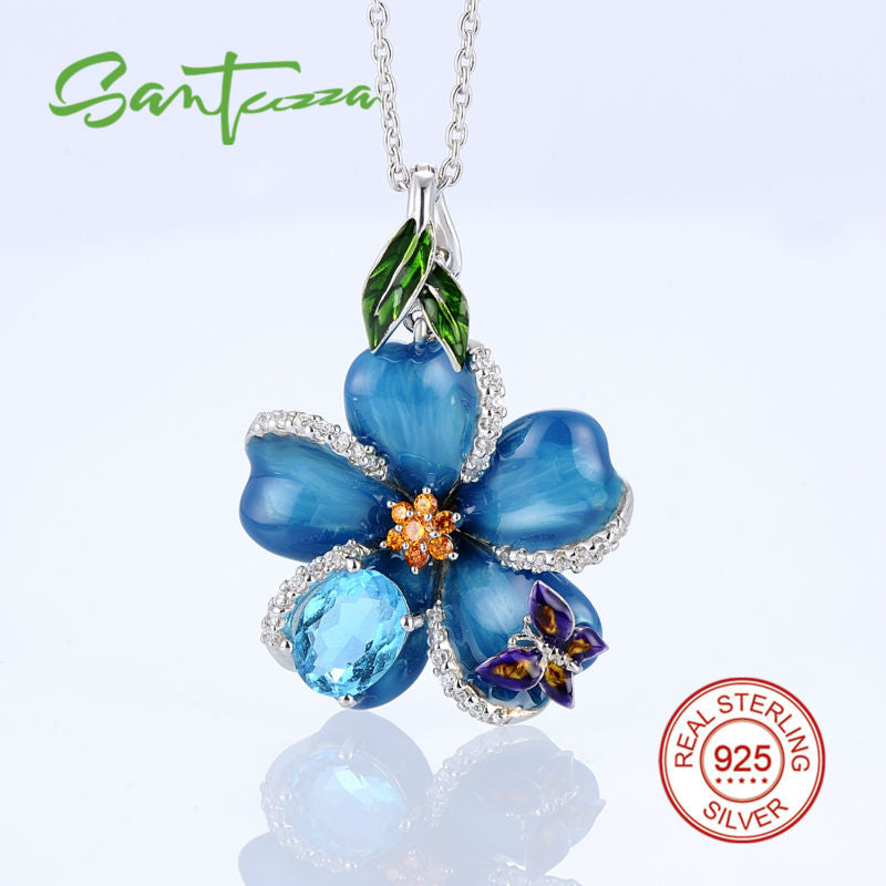 Silver Flower Pendant Fit Necklace Enamel Blue Butterfly Stone Solid 925 Sterling Silver Jewelry - Jewelry