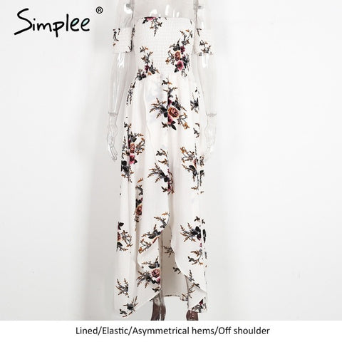 Simplee Boho Long Dress Off shoulder Beach Summer Dress Vintage Chifon White Maxi Dress