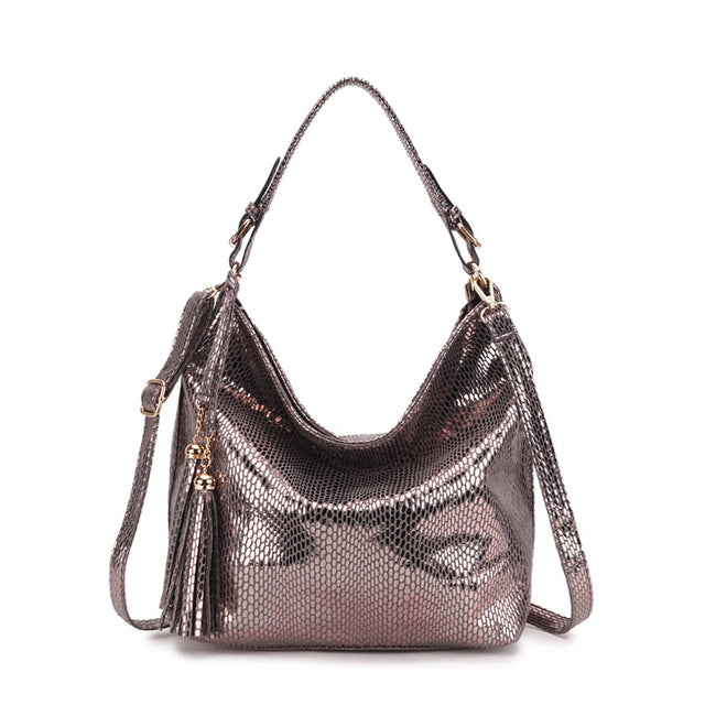 Serpentine Leather Women Handbag Hobo Tote Snake Tassel Shoulder Bags Luxury Crossbody Bag