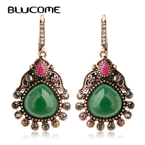 Boho Vintage Jewelry Antique Bronze Metal Drop Peacock Dangle Earrings - Jewelry