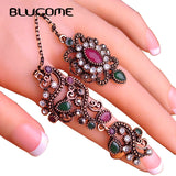 Blucome Adjustable Turkish Two Finger Rings Party Red Resin Hollow Out Flower Vintage Ring Jewelry - Jewelry