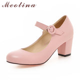 Meotina Women Mary Jane High Heels White Wedding Shoes Thick Heel Pumps Black Pink Beige - Shoes