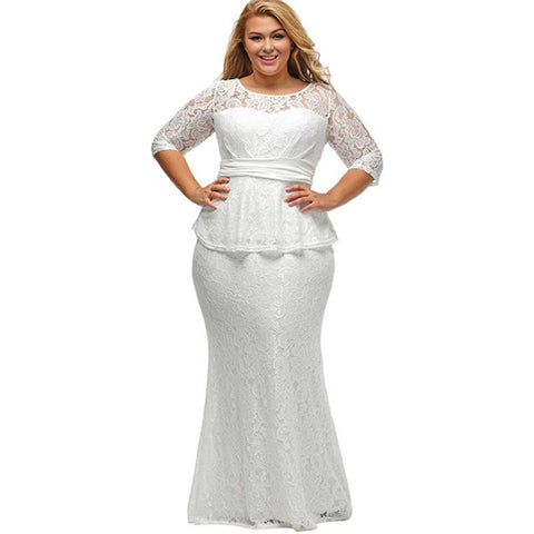 Plus Size Lace Dress Women Bodycon Sexy Round Neck Autumn Party Gown Ankle-Length Big Size Dress