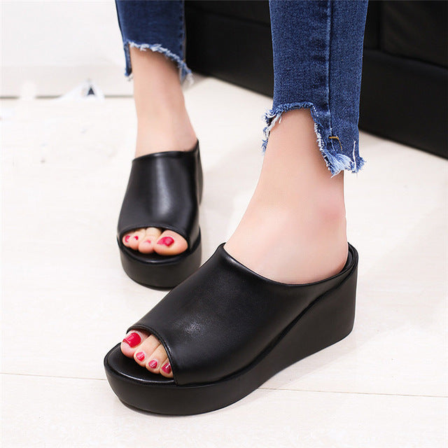 04e7940b9a Women Summer Leisure Shoes Platform Wedges Fish Mouth Sandals Thick Bottom  Slippers - Shoes ...