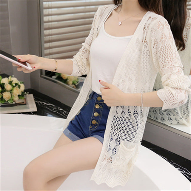 d959f56973ca ... Ladies Crochet Tops Summer Hollow Out Knitted Sweaters Women Beach  Cardigan Spring ...