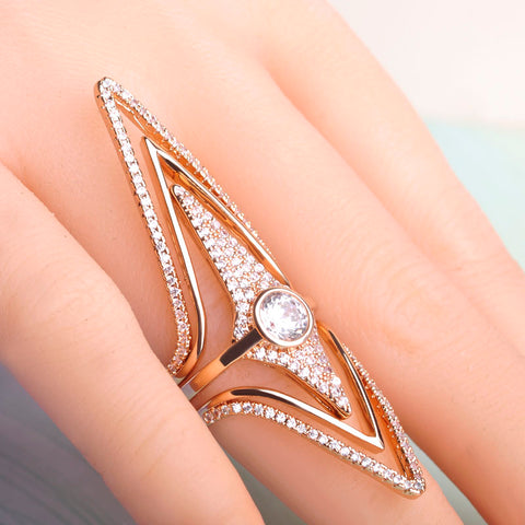 AZORA Rose Gold Plated Gold Color Triangle Stellux Austrian Crystal Ring - Jewelry