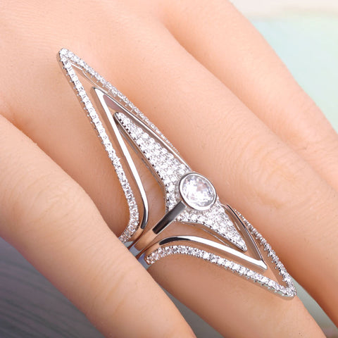 Filled Zircon Rhombus Rhinestone Copper Gold Wedding Engagement Ring Star Shape Three Piece Rings - Jewelry