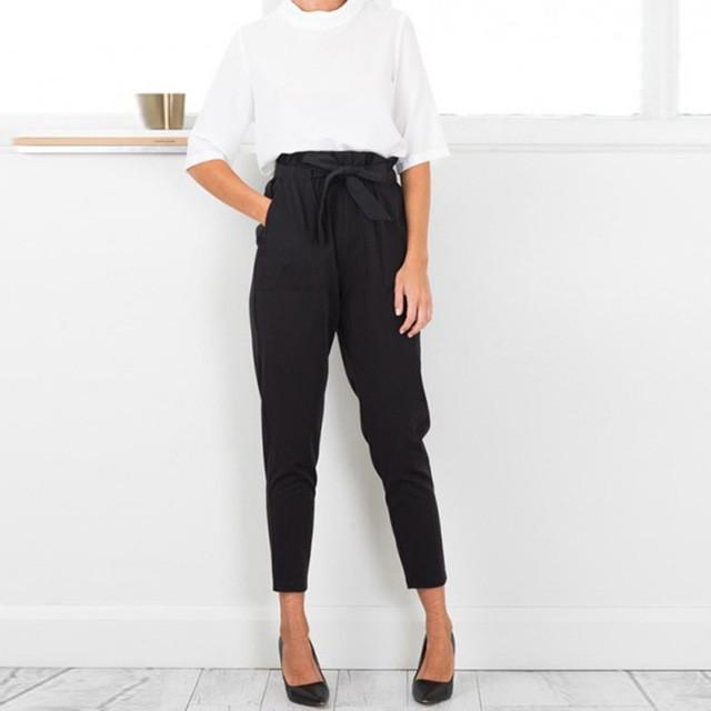 Women Chiffon High Waist Harem Pants stringyselvedge Summer style Casual Female Black Trousers
