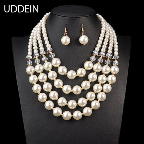 White Silver Necklace Earring Ring Jewelry Sets Austrian Crystals - Jewelry