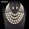 Nigerian Wedding Multi layer simulated pearl jewelry Bridal Necklace Pendant Luxury African Beads Jewelry Sets - Jewelry