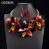 Color Flower Pendant Vintage Statement Choker Collar Wedding Jewelry Sets Collier Necklace - Jewelry