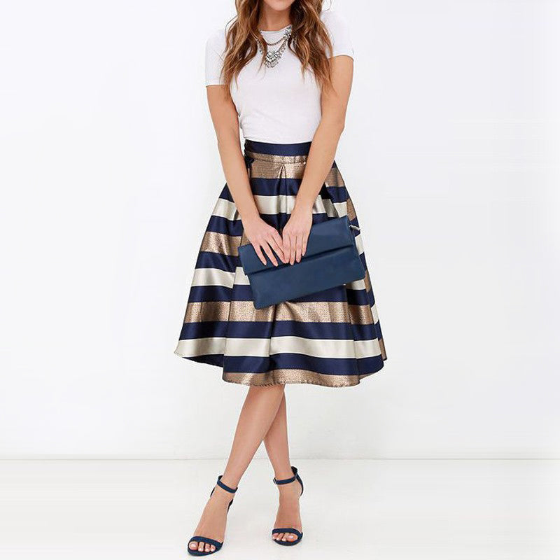 NELLBANG Sexy Stretch Natural Waist Pleated Skirt Striped Printed Casual Knee-Length Skirt