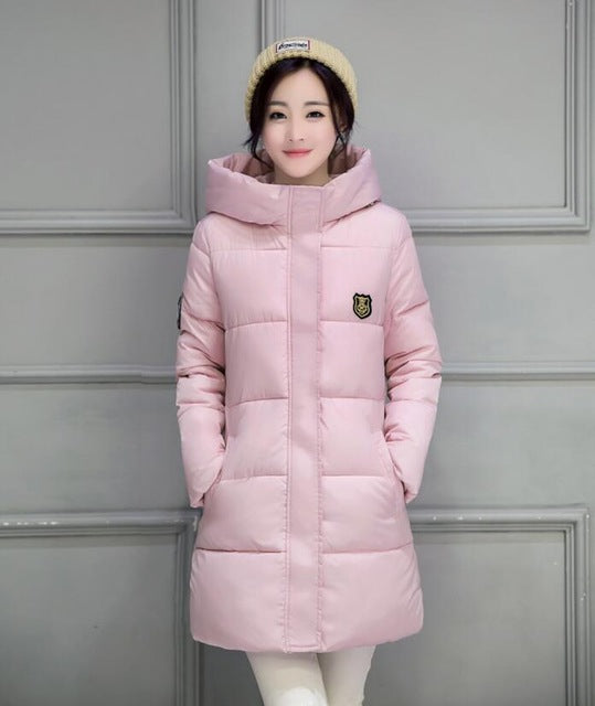 White Winter Coat Women Long Parka Students Slim Female Thick Jackets