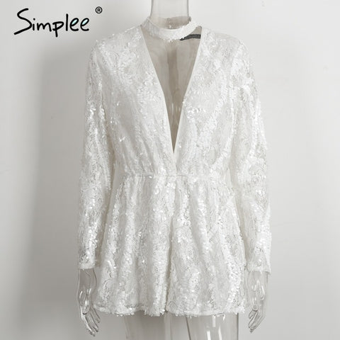 Simplee Halter White Lace Sequined Jumpsuit Romper Deep V Neck Long Sleeve Overalls Summer Playsuit