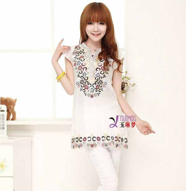 Casual Shirt Vestidos Folk Style Embroidery Party Female Blouses Dresses