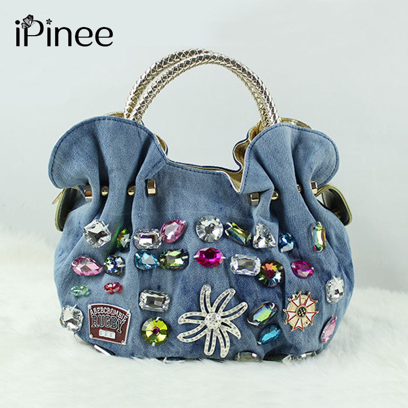 iPinee Women Denim Bags Sweet Blue Pattern Handbags Diamond Ladies Tote Messenger Bags