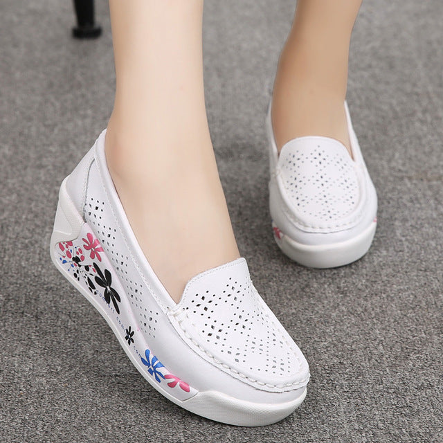 Women's Genuine Leather Platform Shoes Wedges White Lady casual Swing Mother shoes - Shoes