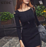 Women Off Shoulder Long Sleeve Knitted Casual Bodycon Pencil Party Dresses Mini