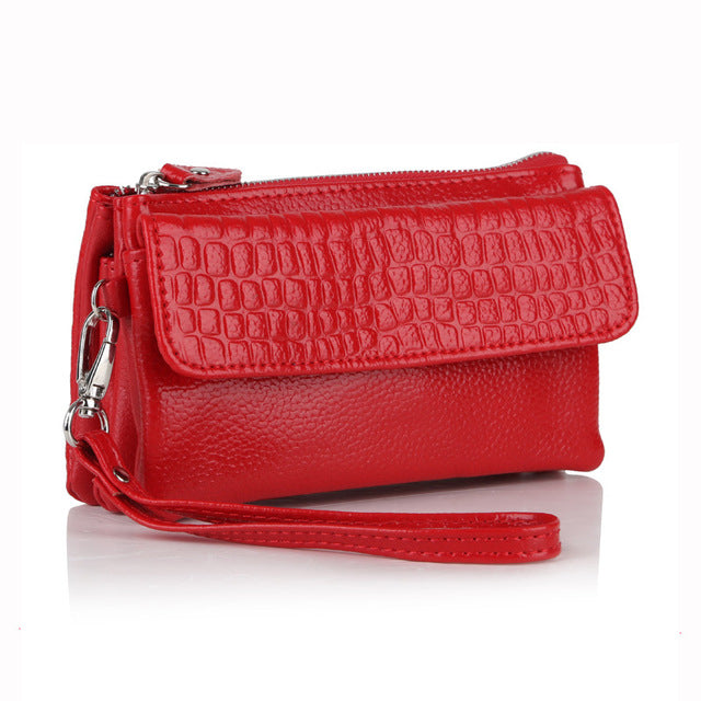 Women Genuine Leather Wristlet Evening Clutch Female Stone Pattern Lady Purse Messenger Bags