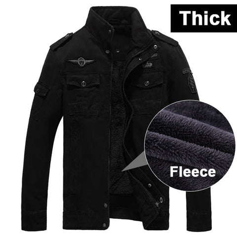 Winter Fleece Jacket Men Jean Military Army Soldier Cotton Air Force One Autumn Jackets