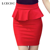 Women Pencil Skirts Ruffles Autumn Casual Ladies Bodycon Skirts Elegant Open Slit Skirts Red Black
