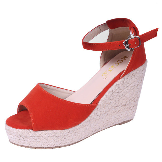 MCCKLE Comfortable Bohemian Wedges Women Sandals High Platform Open Toe - Shoes