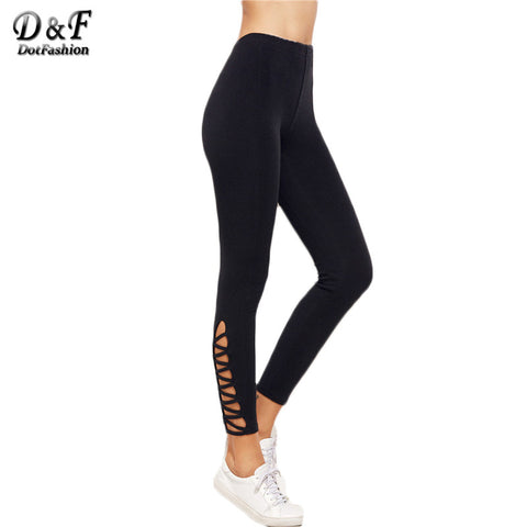 Dotfashion Women Pants Trousers Black Pants Fashion Black Lattice Hem Leggings