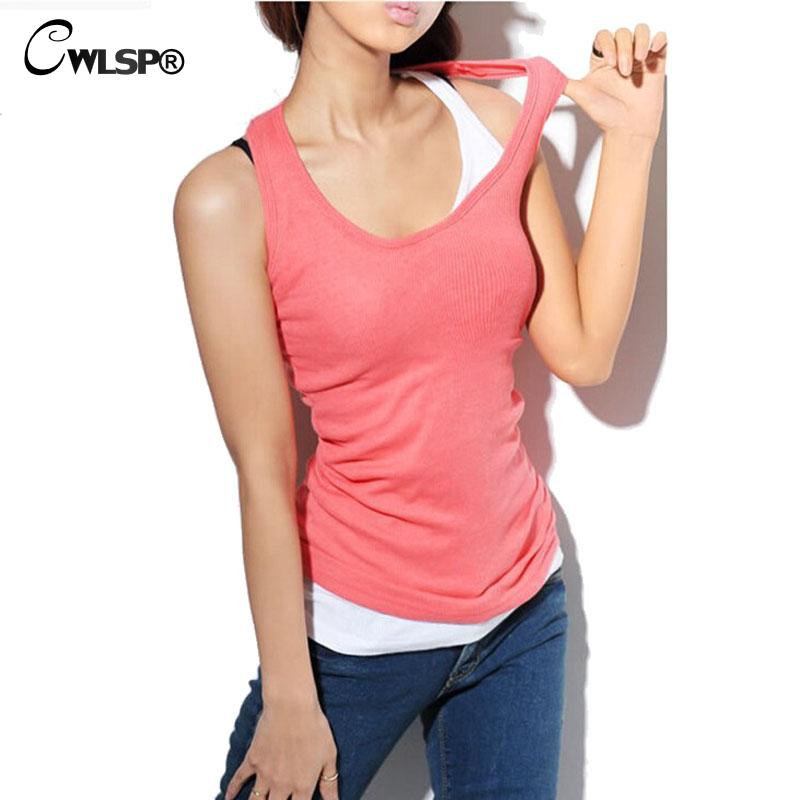 Tank Tops Cotton Camis O-neck Tight-Fitting Thread Vest Women Cheap Camisole