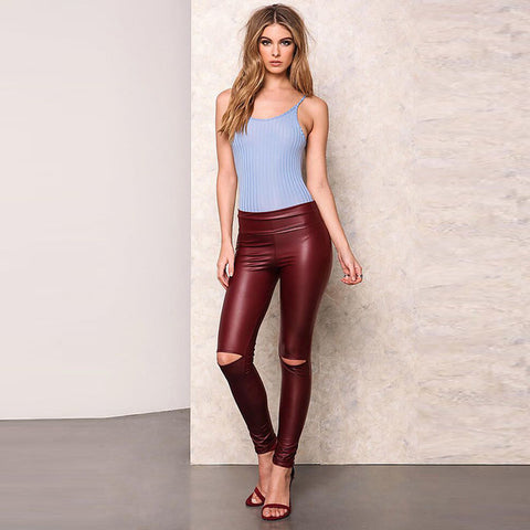 A FOREVER Womens Leggings Slim High Elasticity Long Pants High Waist Knee Hole Pencil Pants