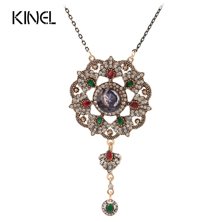 Kinel Vintage Jewelry Imitation Blue Pendant Necklace Color Ancient Gold Crystal Gifts - Jewelry