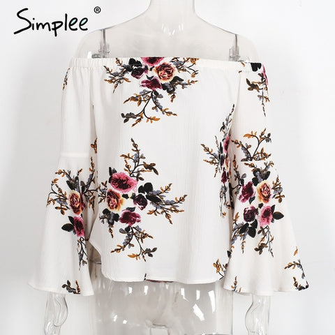 Simplee Off Shoulder Chiffon Shirt Summer White Print Blouse Casual Flare Sleeve Cool Blouse