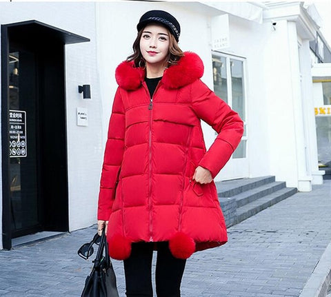 Winter Hat Long Cotton Jacket Women Coat Winter Thick Coats Outerwear Parka Coats