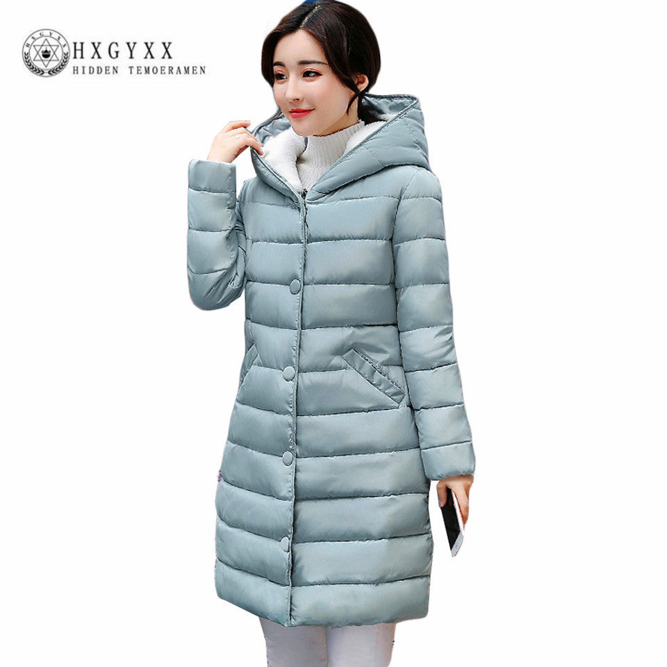 Fall Winter Jacket Women Lamb Wool Hat Cotton Parka Slim Solid Color Hooded Long Wadded Quilted Plus Size Coat