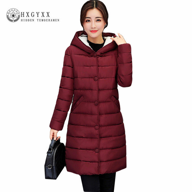 e1276974094 Fall Winter Jacket Women Lamb Wool Hat Cotton Parka Slim Solid Color Hooded  Long Wadded Quilted Plus Size Coat