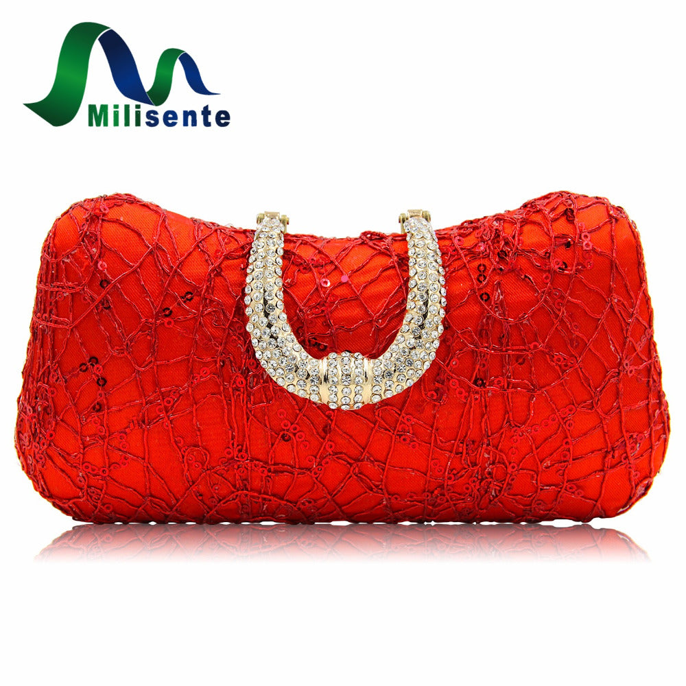 Milisente Red Designer Clutches Luxury Crystal Evening Bags Silver Women Tote Wedding Purse Handbags