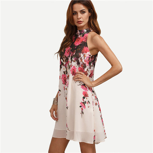 SheIn Summer Short Dresses Casual Multicolor Round Neck Floral Cut Out Sleeveless Shift Dress
