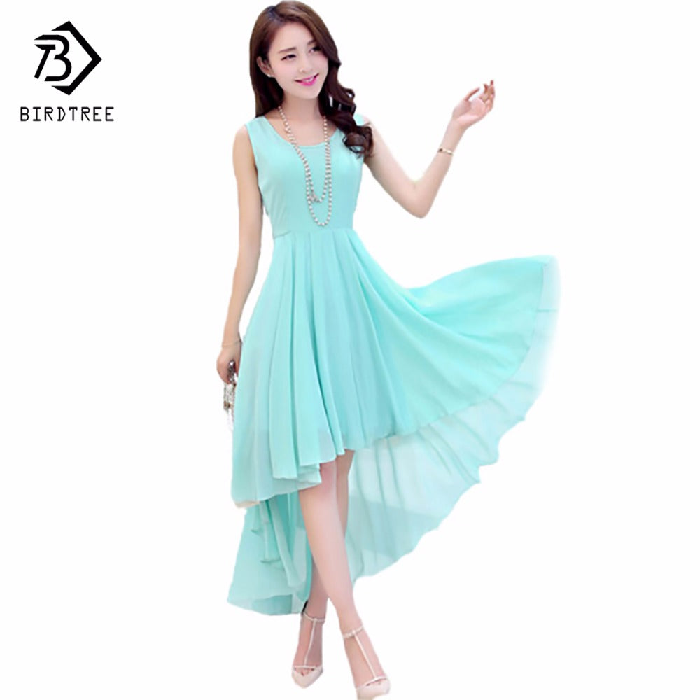Bohemia Style Women's Asymmetric Sleeveless Long Casual Dress Vestidos Feminine Elegant