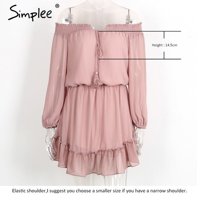 Simplee Short Chiffon Vintage Dress Women Off Shoulder Long Sleeve Beach Summer Ruffle Dress
