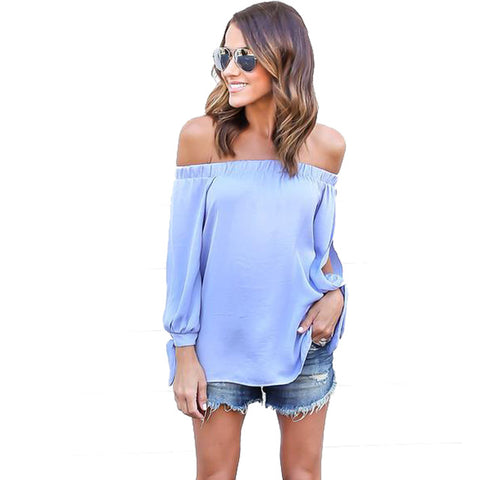 Kaywide Off Shoulder Chiffon Shirt Girls Loose Summer Slash Neck Tops Long Sleeve Hollow Blouse