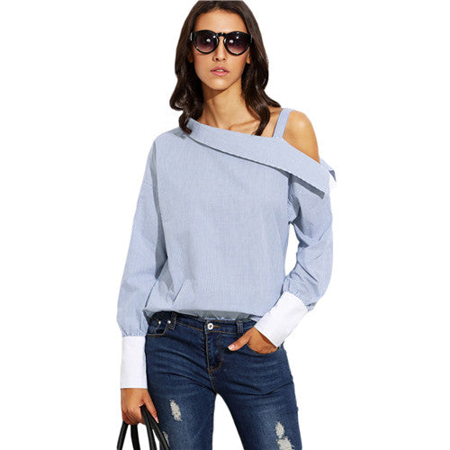 Ladies Blue Striped Fold Over Asymmetric Shoulder Long Sleeve Contrast Cuff Blouse