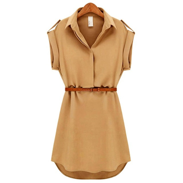 Women's Short Sleeve Stretch Chiffon Casual OL Belt Mini Dress Vestidos