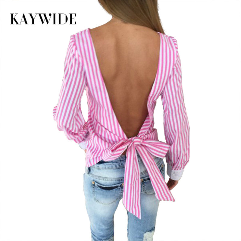 Kimono Striped Bow Blouses Summer Long Sleeve Blouse Vintage Backless Women Tops Camisas