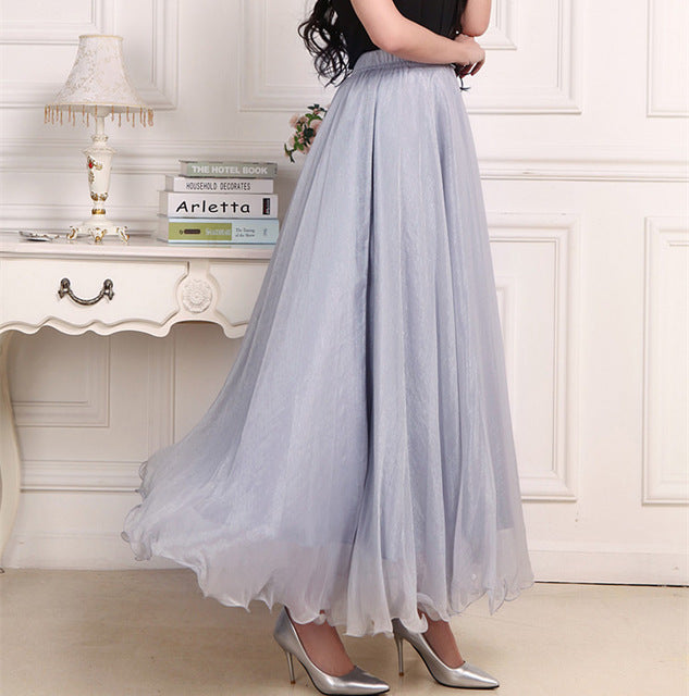 TEGEANCY Chiffon Maxi Skirt Elastic High Waist Long Ladies Spring Summer Soft Expansion Skirt