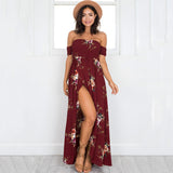 Boho Long Dress Off Shoulder Beach Summer Dresses Floral Print Vintage Chiffon White Maxi Dress