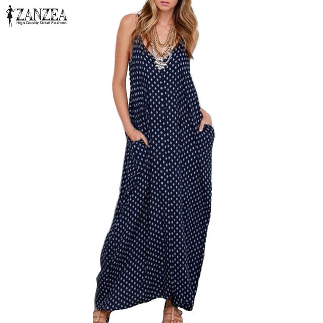 ZANZEA Fashion Women Dress Strapless Polka Dot Loose Beach Long Maxi Dress Vintage Vestidos
