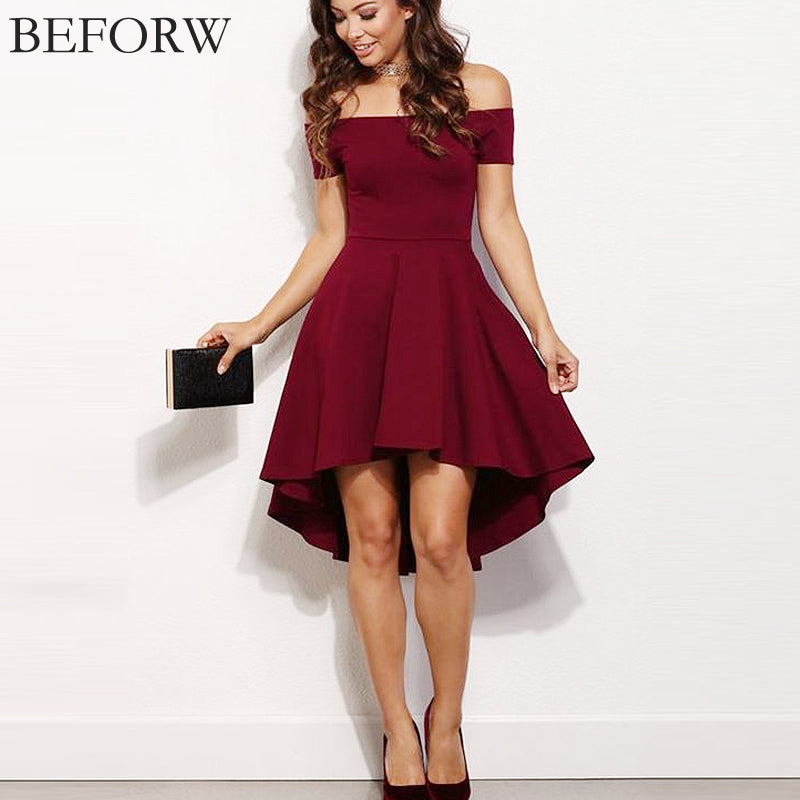 Summer Off Shoulder Party Dresses Burgundy Blue Casual Elegant Vintage Midi Dress Vestidos